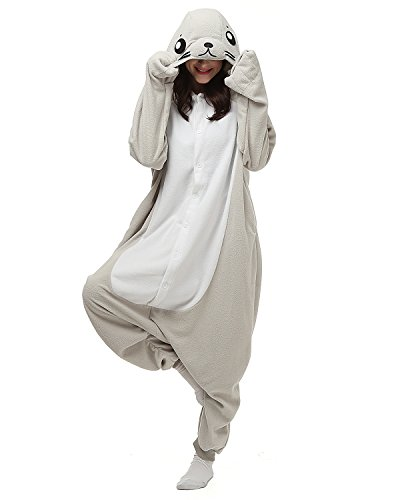 [Women Mens's Animal Kigurumi Grey Seal Oneise Costumes Halloween Partywear Warm Outfit Large] (Animal Costumes Coupon Code)