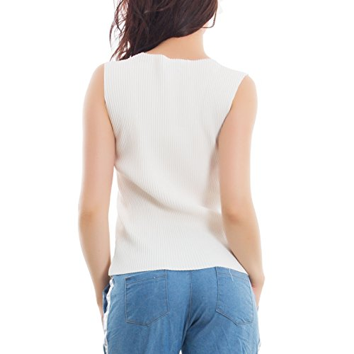 Canottiera Toocool Pieghe Sottogiacca 0801 Top Aderente Bianco Girocollo Donna Nuovo Basic As xwxUqf7