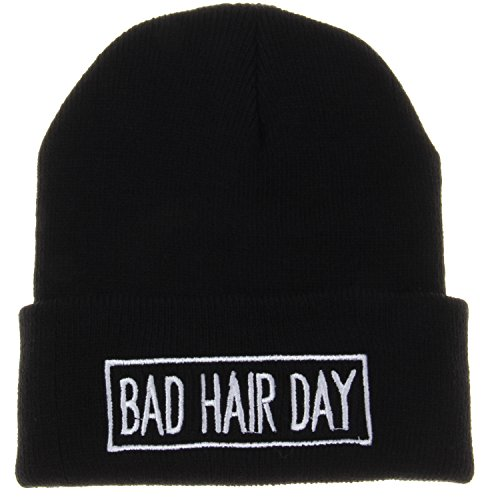 Bad Hair Day with Line Beanie Hat (Black) (Line Knit Hat)