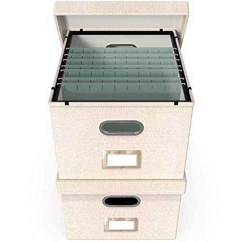 File Boxes for Hanging Files | Decorative Filing Organizer with Lid | Filing Box Features Patent-Pending Metal Folder Glides for Easy Movement | Linen Hanging File Box Set of 2 | Neutral Cream