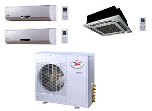 YMGI Tri Zone - 36000 BTU (9K+9K+18K) Wall Mount plus Ceiling Suspension Mini Split Air Conditioner with Heat Pump for Home, Office, Apartment with free 25 Ft Lineset installation Kits