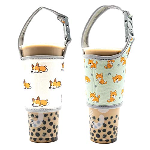 - Bark Industry 2 Pack Bubble Boba Tea Tumbler Coffee Mug Cup Holder Neoprene Pouch For all 30oz Stainless Steel Travel Insulated Sleeve With Carrying Handle Fit Yeti (Corgi/Shiba Mix)