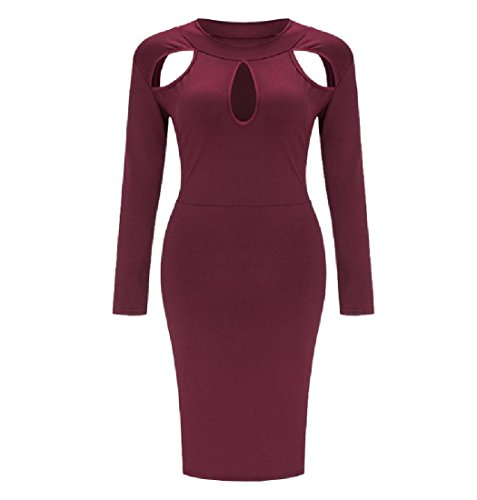 Hip Dresses Coolred Wine Package Women Plus Hollow Size Stylish Red Waist Solid q78zwxqa