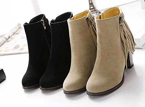 Knight Boots Women Boots 40 8cm Court Pure Ankle Color Size Dress Boots Eu Boots Chunkly Zipper Toe Boots 34 Round Heel Black Tassel Sweet Martin wqqaZ0