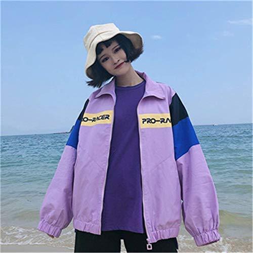 Stampate Digitale Moda Casual Sciolto Donna Sottile Leggero Cute Jacket Lunga Giacca Outwear Giaccone Chic Manica Autunno Cucitura Cappotto Elegante Mare Lila Primaverile 8Ewzqwg