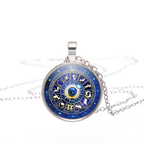 Anhänger Amulett 25mm Glas Cabochon Motiv Halskette - 66cm Kettenlänge Horoscope [022]