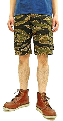 Buzz rickson's Men's Military Shorts Gold Tiger Stripe Camouflage Pattern BR51733 Tagged Size L ()