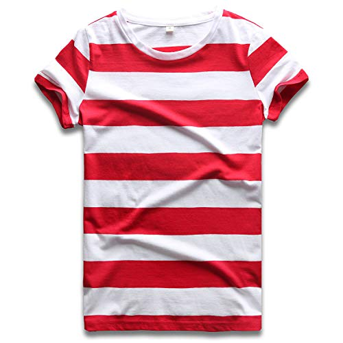 Striped T Shirt Women Crew Neck Short Sleeve Stripes Tees Tops Red and White XL