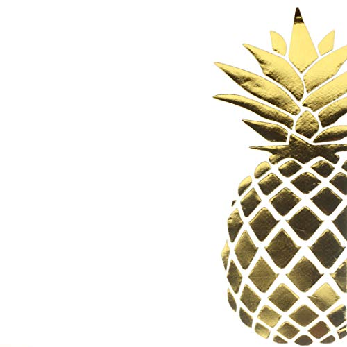 Andaz Press Gold Foil Lunch Napkins, Pineapple, 6.5-inch,