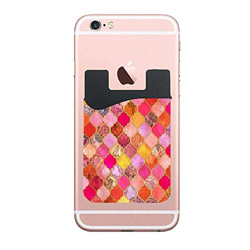 Cusomcardphone Hot Pink Gold Tangerine & Taupe Decorative Moroccan Tile Pattern Premium PU Phone Card Holder Stick On Wallet for iPhone and Android Smartphones Kangaroo