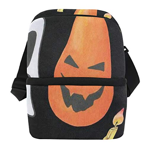 Lunch Bag Painting Halloween Ghost Pumpkin Portable Cooler Bag Womens Leakproof Food Storage Zipper Tote Bags for Picnic