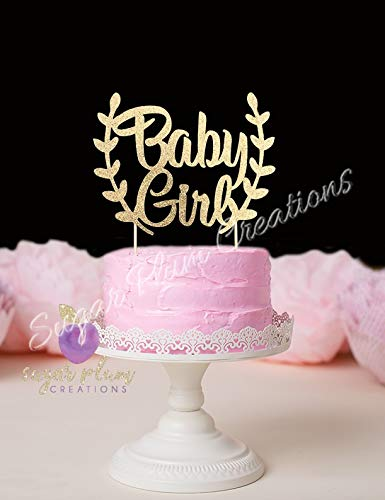 Amazon Com Baby Girl Cake Topper With Leaves Arts Crafts Sewing