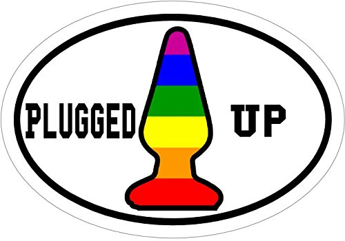 Perfect Gag Joke Gift WickedGoodz Plugged Up Rainbow But Plug Vinyl Decal Funny Bumper Sticker