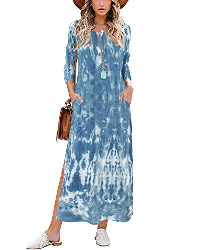 Tie Dye Maxi Dresses for Women - Casual 3/4 Sleeve Round Neck Split Loose Long Boho Dress with Pockets