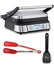 Cuisinart GR-6S Smoke-less Contact Griddler with Heavy Duty Small Grill Brush and 8-Inch Nylon Flipper Tongs Bundle (3 Items)