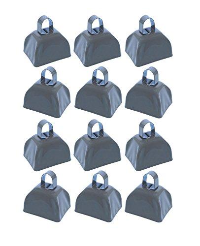 School Cowbells - Set of 12 Silver Metal Cowbell Noisemakers (Select A Color)]()