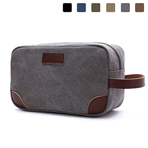 Mens Toiletry Bag,Lanivas Large Thick Grooming Tote with Strap TSA Approved Grey
