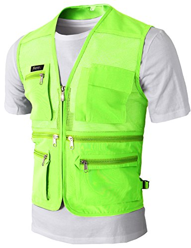 H2H Mens Casual Work Utility Hunting Travels Sports Mesh Vest With Pockets YELLOW US XL/Asia 2XL (KMOV087)
