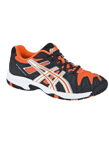 Asics Gel-Resolution 5 GS Schuh Black / Neon Orang Orange