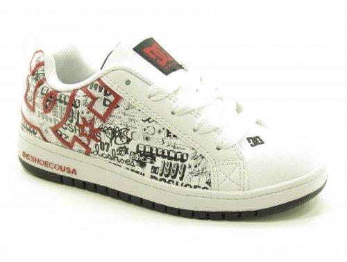 - DC Kids Court Graffik SE SN Skate Shoe (Little Kid/Big Kid),White/Black/Black Print,4 M US Big Kid