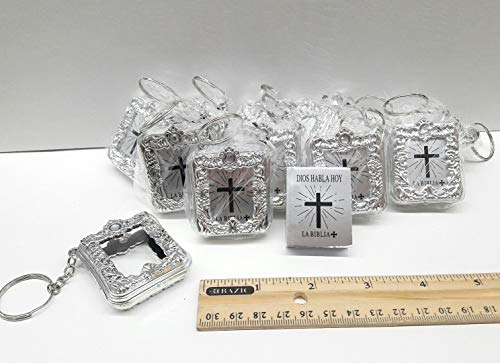 First Baptism Bible - CL Gift 12 x Mini Bible Keychain English Spanish Gold Silver Holy Bible Religious Favor/Baptism Favor/First Communions, Baptism, Wedding Shower (Spanish (Silver))