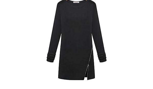 TOOGOO Blusa Tops de Moda para mujer Camisa delgada de manga completa O-cuello cremallera Negro XL: Amazon.es: Ropa y accesorios
