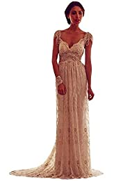 WANNISHA Women A-Line V-neck Backless Beading Lace Wedding Dresses with Cap Sleeves