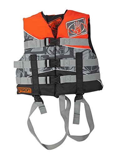 Body Glove Vision U.S. Coast Guard Approved Type II Nylon PFD Life Jacket, Neon Orange, Child 30-50-Pound