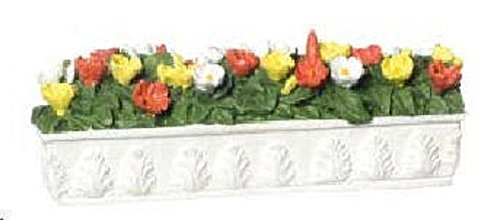 Filled Flower (Dollhouse Miniature White Long Filled Flower Box)