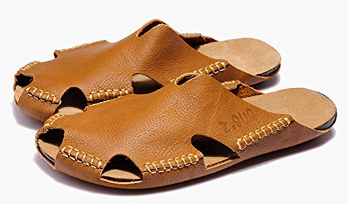 DQQ Mens Leather Stitch Cut Out Slip On Sandal Brown spE7ymim3w