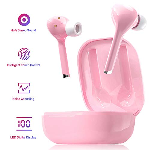 Wireless Bluetooth 5.0 Earbuds Headset Mini in-Ear Noise Canceling Sport Headphones with Charging Case,TWS Stereo Touch…