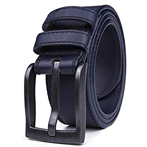 Belts for Men, Classic Stitched Large Width Strap, Regular Tall &am