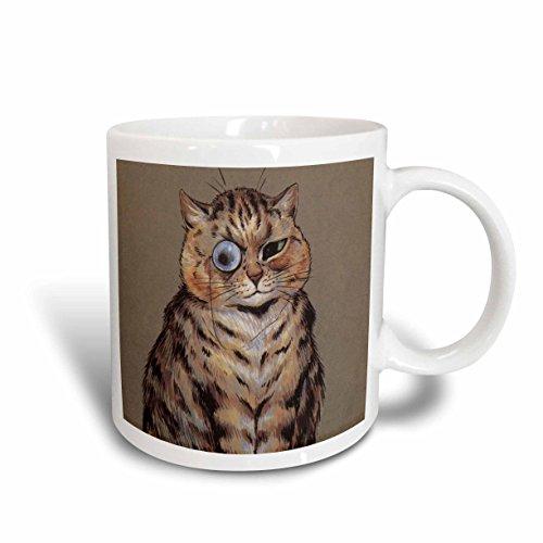 3dRose mug_164674_2 Louis Wain Cat with Spectacle Vintage Ceramic Mug, 15-Ounce