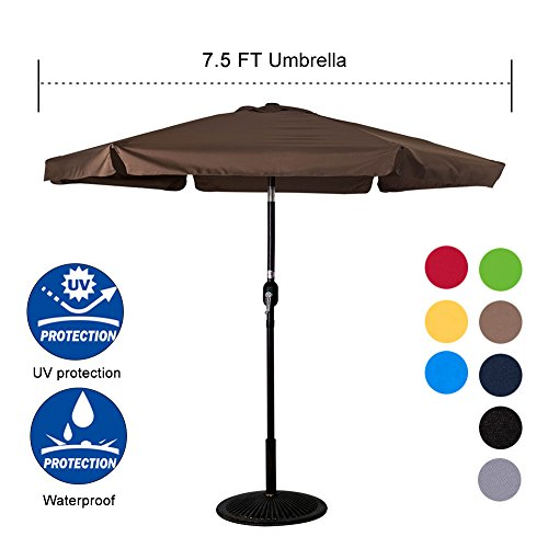 Sundale Outdoor 7.5 Feet Aluminum Beach Drape Umbrella Table Market Umbrella with Crank and Push Button Tilt for Patio, Garden, Deck, Backyard, Pool, 6 Fiberglass Ribs, 100% Polyester Canopy - Rib Drape