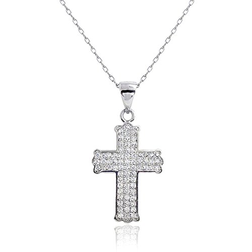 Sterling Silver Micro Pave Cubic Zirconia Cross Pendant Necklace, Cross Necklace for Women 16-18 inch, Christian Gifts for Women