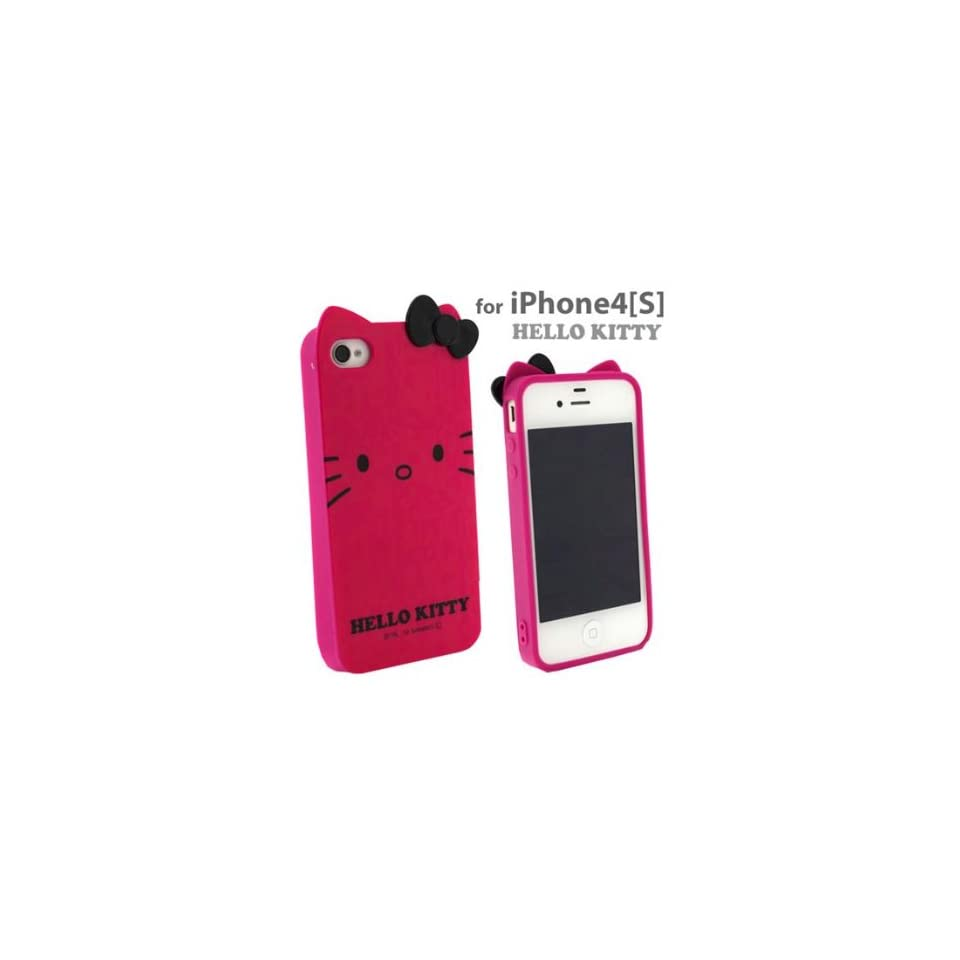 Rose Hello Kitty Ear phone cover case iPhone 4 iPhone4s Hot Pink Cell Phones & Accessories