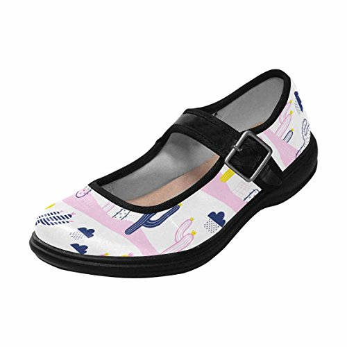 Multi Womens Mary 4 Shoes Flats Jane Casual Walking Comfort InterestPrint PUqnw7dS8q