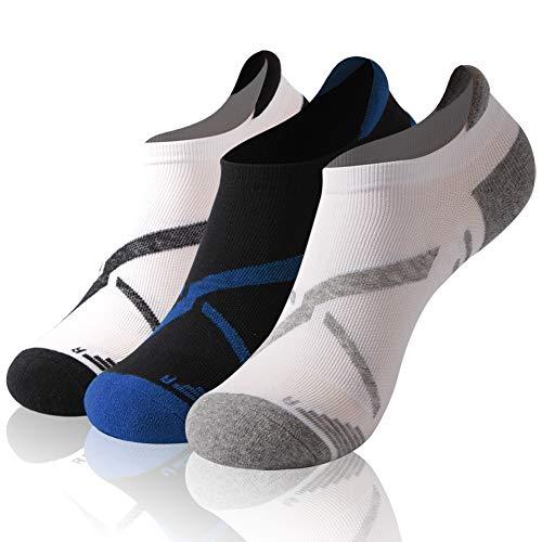 (Cycling Socks, Gmark Unisex Moisture Wicking Spring Performance Short Sport Tab Climbing Socks Running Dry Fit Quality Enduro Sock,Black+Grey+Blue)