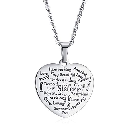 4MEMORYS Stainless Steel Heart Tag Necklace Personalized Inspirational Pendant Jewelry for Women Girls Gift (Sister) ()