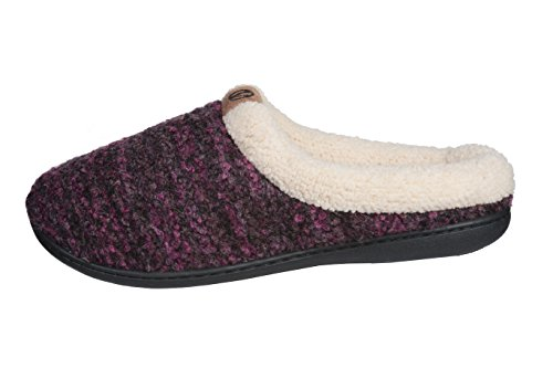 Lined Fleece House Sweater A Slippers; Style Roxoni Warm Shoes Women's Knitted Purple Swqa1WqXYx