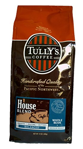 Tully's Coffee House Blend, Whole Bean, 12-Ounce Bags (Pack of 2)