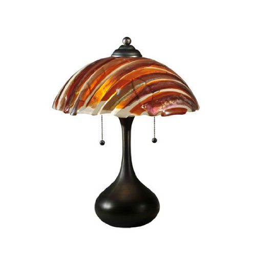 Meyda Tiffany Custom Lighting 110445 Marina Fused Glass 2-Light Table Lamp, Bronze Finish with Amber/Beige/Smoke Fused Art Glass Shade, 21