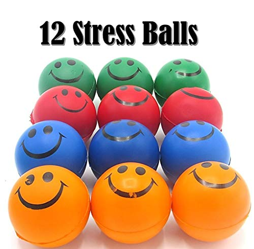 Neon Smile Face Relax Balls| Stress Balls| Pack of 12 | Dazzling Toys ()