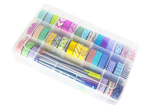 Washi Tape Storage Box by Tanpopo Art | Clear Box Organizer with Adjustable Compartments [Box only, Tapes not included]