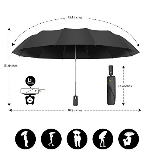 12 Ribs Travel Umbrella Windproof-Compact Umbrella with Auto Open/Close- Simplified Design Umbrella for Men&Women Ruxy Humy (Black) by Ruxy Humy (Image #2)