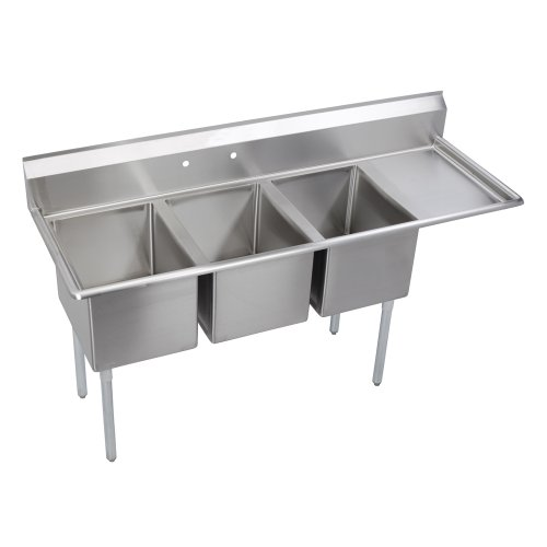8in Drainboards - Elkay Foodservice 3 Compartment Sink, 102.5
