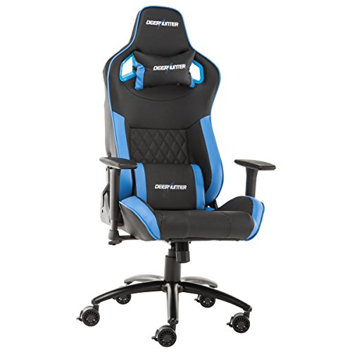 Deerhunter Gaming Chair, Leather Office Chair, High Back Ergonomic Racing Chair, Adjustable Computer Desk Swivel Chair with Headrest and Lumbar Support (Blue&Black) Deerhunter