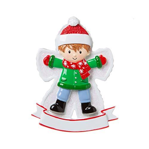 (Personalized Snow Angel Boy Christmas Tree Ornament 2019 - Happy Kid Lying Down Fresh Snow Child-Hood Game Milestone Photo Memory Grand-Son Winter Tradition Year - Free)