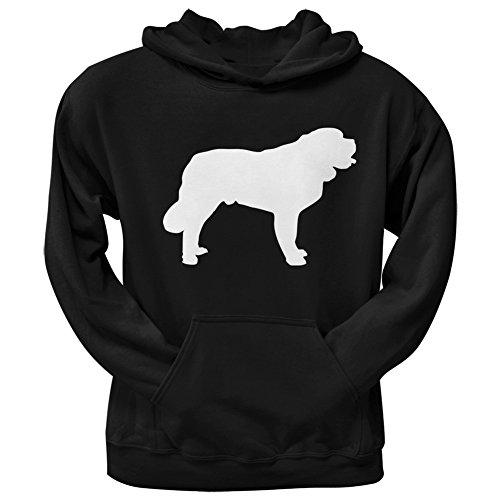 Animal World Saint Bernard Silhouette Black Adult Hoodie - Medium