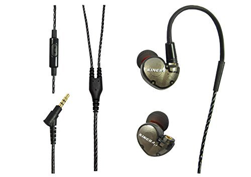 Kinera HiFi Hybrid Dual Balanced Dynamic+ Experience Balance Armature Earphone,can change MMCX,Wired Stereo Sport Earbuds with Microphone for Running, Workout, GYM (Grey)